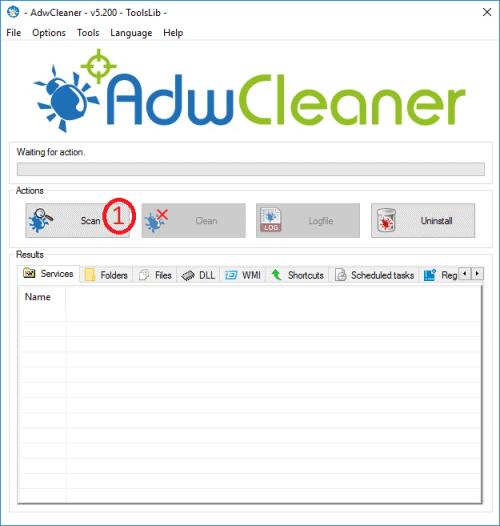 ADWCleaner - Press Scan to start