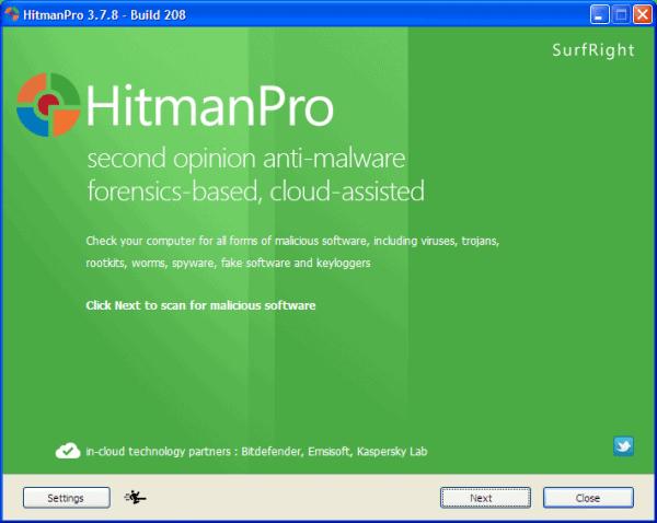 Hitman Pro Main Screen - Press Next to Start Scan