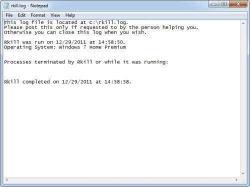 RKill Malware Terminator Application Screenshot