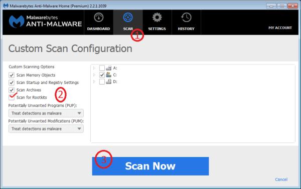 Malwarebytes Anti-Malware - Ensure Scan for Rootkits is Turned on