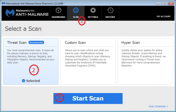 Malwarebytes Anti-Malware - Threat Scan is the most comprehensive scan