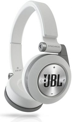 JBL E40BT White High-Performance Wireless On-Ear Bluetooth Stereo Headphone